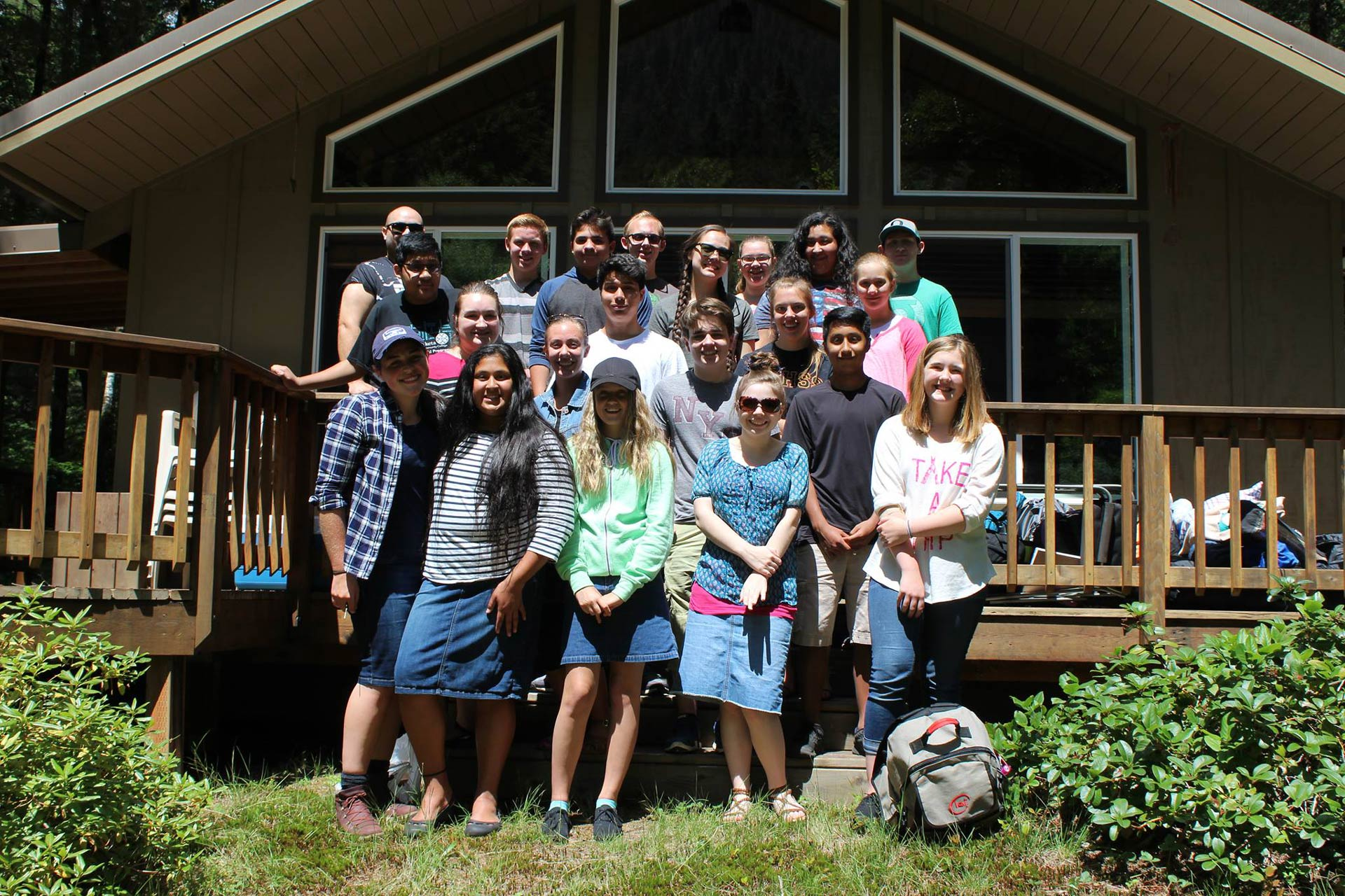 Youth and students at the annual youth camping trip for Christian World Fellowship